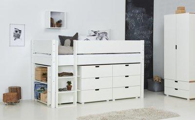 Danish Arn opberg halfhoogslaper 90x200 helder wit