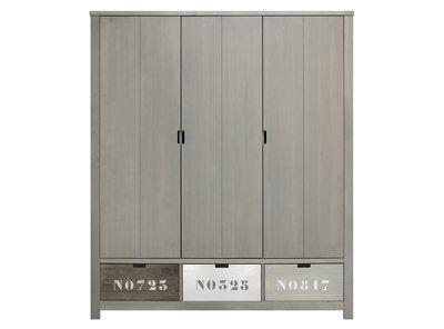 Bopita Basic wood 3 deurs kleding kast gravel wash excl. bakken
