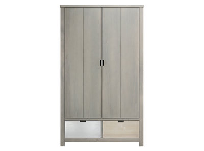 Bopita Basic wood 2 deurs kleding kast xl gravel wash excl. bakken