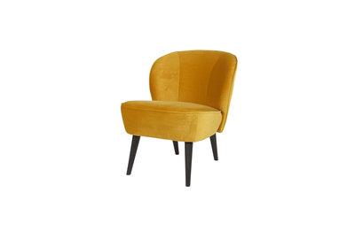 Woood Sara fauteuil fluweel oker geel