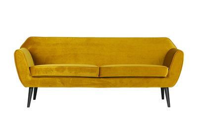 Woood Rocco 2 zits sofa bankje fluweel oker geel
