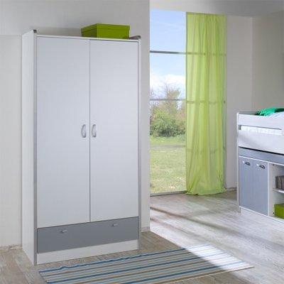 Relita Finn 2 deurs kledingkast wit met zilvergrijs lade