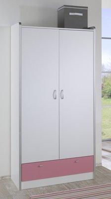 Relita Finn 2 deurs kledingkast wit met roze lade