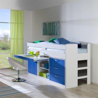Relita Finn halfhoogslaper blauw met kasten en uittrek bureau