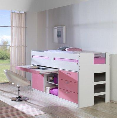 Relita Finn halfhoogslaper roze met kasten en uittrek bureau