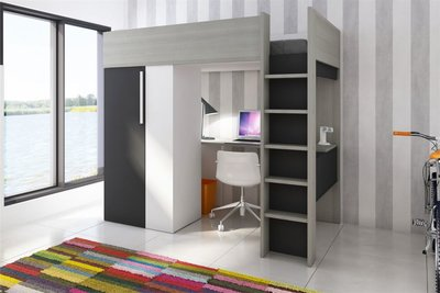 Beddyfurn Studio hoogslaper met kast en bureau wit grijs eiken antraciet