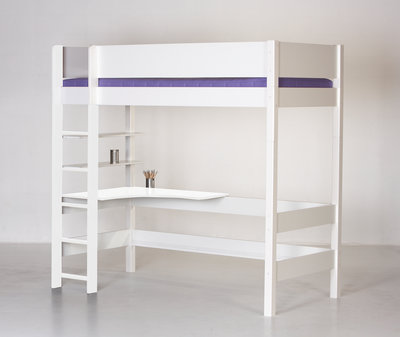 Danish Balder hoogslaper met hoek bureau 90x200 helder wit