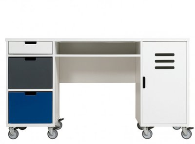 Bopita locker bureau op wielen wit