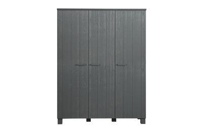 Woood Dennis 3 deurs kleding kast grenen staal grijs