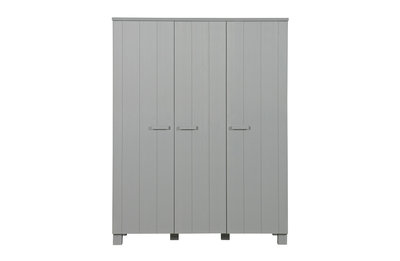 Woood Dennis 3 deurs kleding kast grenen beton grijs