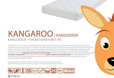ABZ Kangaroo 90x200x20 pocket + HR40 matras Tencel hoes
