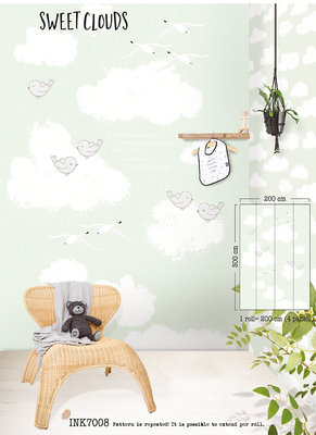 Puck & Rose Posterbehang - Sweet clouds mint