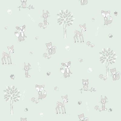 Puck & Rose behang - forest friends mint