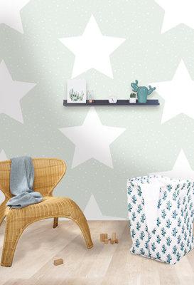 Puck & Rose behang - Big stars mint