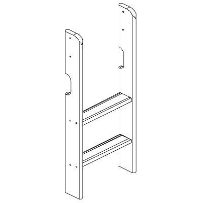 Hoppekids XXL rechte ladder voor halfhoog bed wit