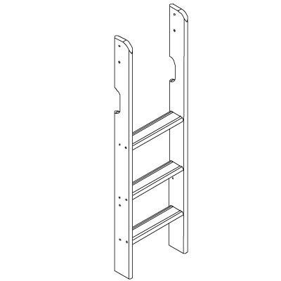 Hoppekids XXL rechte ladder voor middelhoog bed wit