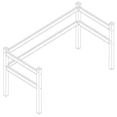 Hoppekids XXL hoogslaper module tbv 90x200 bed grenen wit