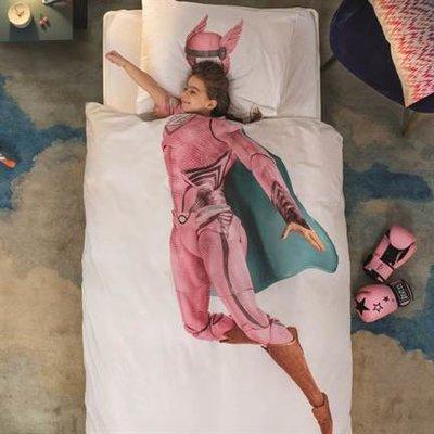 Snurk Super Hero roze dekbedovertrek