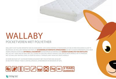 ABZ Wallaby 120x200x14 cm pocketvering + SG 30 en Tencel hoes
