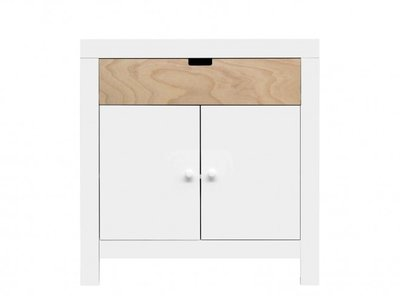 Bopita Babyflex 1 laden / 2 deuren commode 90 cm wit beuken front