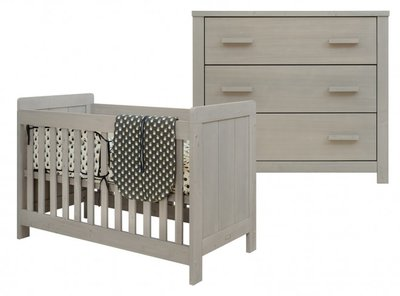 Bopita Basic wood 2 delige babykamer gravel wash