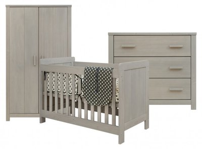 Bopita Basic wood 3 delige babykamer gravel wash
