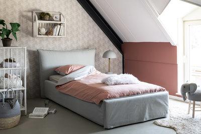 Coming kids Lou luxe gestoffeerd tiener bed 90 x 200