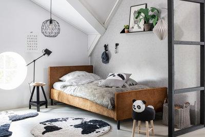 Coming kids Lenn gestoffeerd tiener bed 90 x 200 Mammoet Cognac