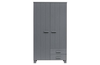 Woood Dennis 2 deurs kleding kast met laden grenen staal grijs
