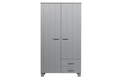 Woood Dennis 2 deurs kleding kast met laden grenen beton grijs