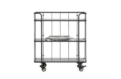 Woood Caro metalen trolley zwart met planken laag