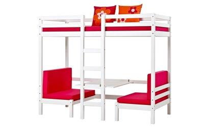 Hoppekids Basic Jumbo stapelbed met zitje 90x200 + roze kussen set