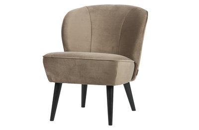 Woood Sara fauteuil fluweel olijfgoud