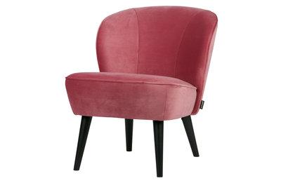 Woood Sara fauteuil fluweel roze
