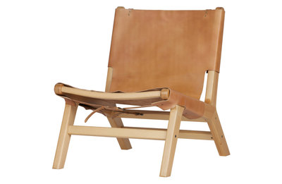 VT wonen Buckle up fauteuil leer-hout naturel