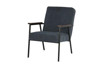 Woood Sally fauteuil staalblaauw rib stof
