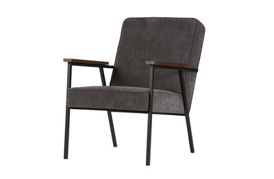 Woood Sally fauteuil antraciet rib stof