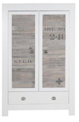 Stapelgoed Urban 2 deurs kleding kast wit-hout