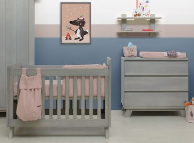 Bopita Pebble Wood 3 delige babykamer gravel wash