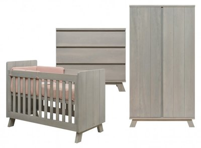 Bopita Pebble Wood 3 delige babykamer gravel wash