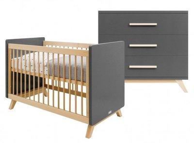 Bopita Kyan 2 delige babykamer deep grey - naturel