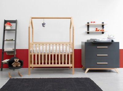 Bopita Kyan My First house 2 delige babykamer deep grey - naturel