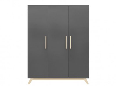 Bopita Kyan 3 deurs kledingkast deep grey - natural