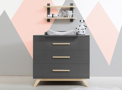 Bopita Kyan 3 lade commode deep grey - naturel