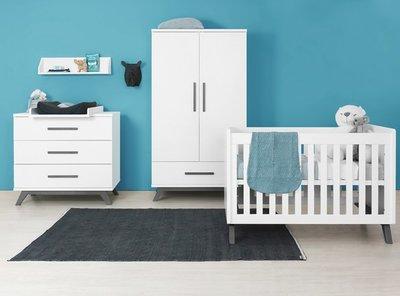 Bopita Levi design 3 delige babykamer wit - grey