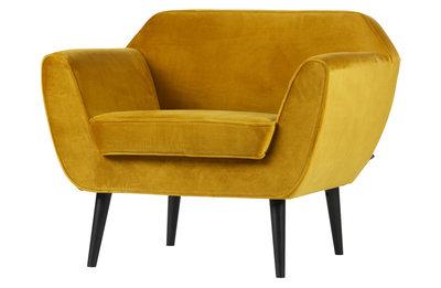 Woood Rocco fauteuil fluweel oker geel