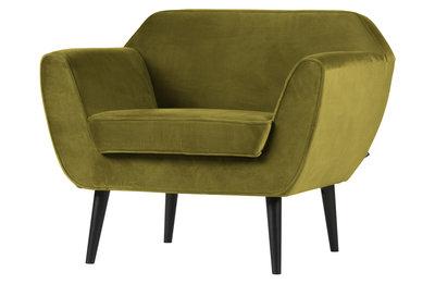 Woood Rocco fauteuil fluweel olive