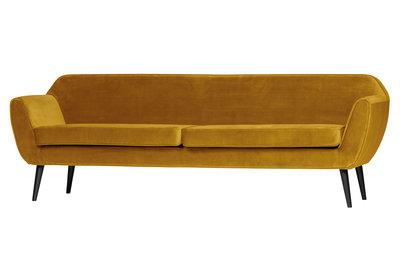 Woood Rocco XL 3 zits sofa 230 cm fluweel oker geel