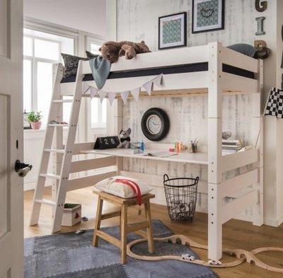 Beddyfurn Nuova hoogslaper 90x200 + bureau +schuine trap deelbaar grenen wit