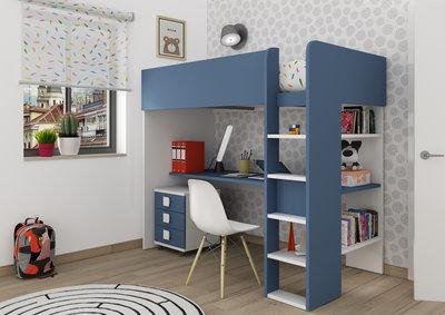 Trasman Jules hoogslaper met bureau 90x200 wit-blauw
